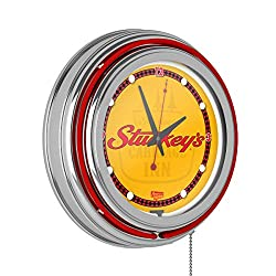 Stuckeys Wordmark Chrome Double Ring Neon Clock