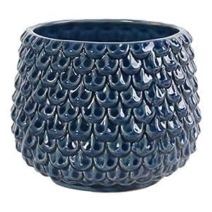 Little Green House Blue Ceramic Pot for Flowers