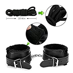 Elflight Sex Bondage Restraint Kit,10-Pcs Adult\'s Hand Cuffs Footcuff Whip Rope Blindfold Mask Mouth Gag Couples Toy Kit Set (Black)