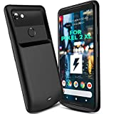 Google Pixel 2 XL Battery Case 5200mAh, ANSEN Portable Extended Charger Case, Built-in TPU and PC Charging Power Case Compatible Google Pixel 2 XL - Supporting Sync-Data and Type-C Port (Black 6'')