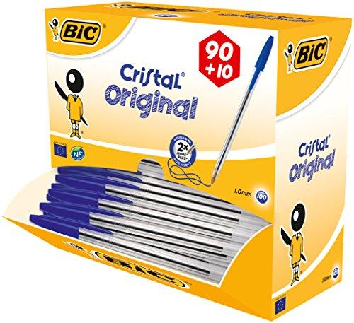 BIC Kugelschreiber Cristal, 0.4 mm, Value Pack 100 Stück, blau