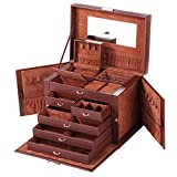 Rowling Leather Jewelry Box Travel Case and Lock ZG245 (BROWN)