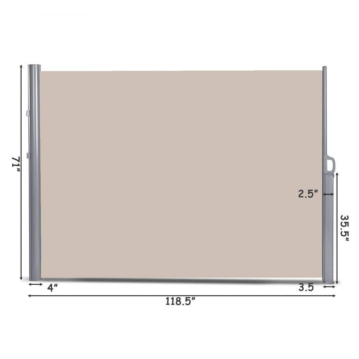 Tangkula Outdoor Patio Retractable Folding Side Screen Awning Waterproof Sun Shade Wind Screen Privacy Divider (118.5'' x 71'', Beige) by Tangkula (Image #5)