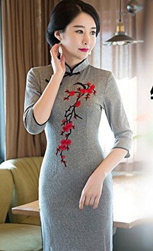 ACVIP Damen Retro Stil Mei-Blüte Muster Schlitz Chinesische Abendkleid
