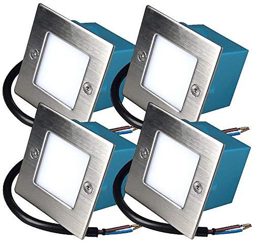 4 Stück IP54 1.5 Watt LED Wandeinbaurahmen Lea 230Volt Treppenbeleuchtung Weiß