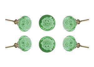Set of 6 Glass Jones Bead Light Green with Silver Chrome Finish Hardware Cabinet Knobs Kitchen Cupboard Dresser Drawer Door Knob Pull by Trinca-Ferro