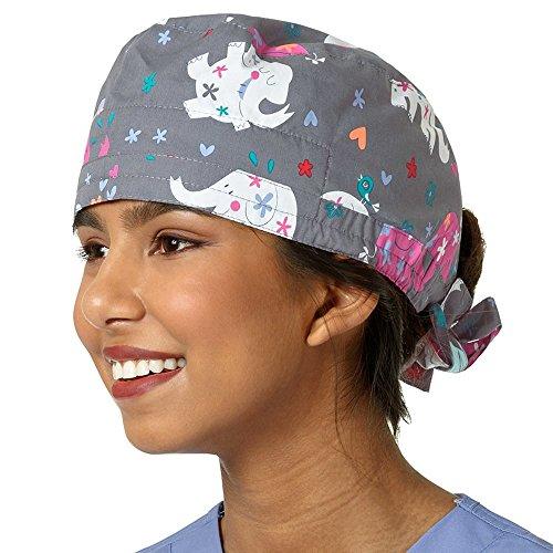 Zoe And Chloe Women's Elephant Print Scrub Cap Mary (Mac Adjustable Hat)