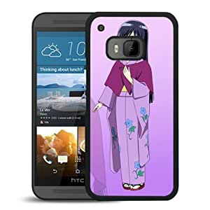 Popular And Unique Designed Cover Case For HTC ONE M9 With Anime Girl Young Kimono Shy black Phone Case BY supermalls
