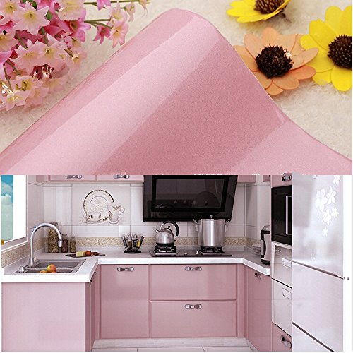 yazi Vinyl Peel & Stick Kitchen Unit Cupboard Door Cover Shelf Liner Paper,24x196 Inch,Pink from yazi