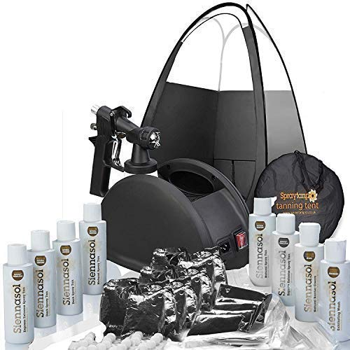 Rapidtanpro Spray Tan Machine. Full Professional HVLP Airbrush Kit with Tent, Gun, Pro Tent and Sunless Tanning Solutions (Self Tanner Machine)