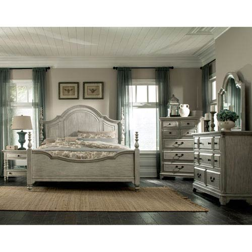 Magnussen Windsor Lane King Poster Bed in Weathered Gray (Poster Bed Magnussen)