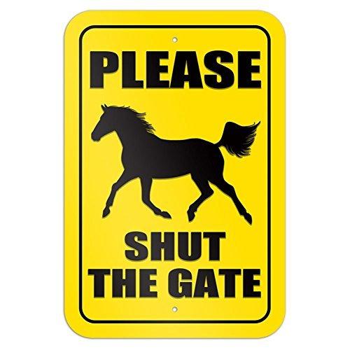 Please Shut the Gate Horse 9 x 6 Aluminum Sign Metal Signs Vintage Road Signs Tin Plates Signs Decorative Plaque bienternary