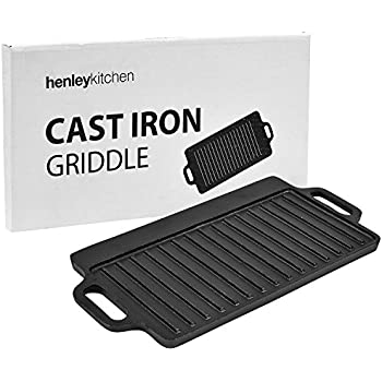 """Henley Kitchen - Pre-Seasoned Cast Iron Griddle (Double-Sided) - 16"""" x 8"""" - Classic Cast Iron Griddle"""