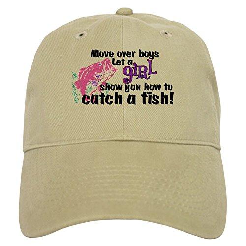CafePress Move Over Boys - Fish Baseball Cap with Adjustable Closure, Unique Printed Baseball Hat Khaki