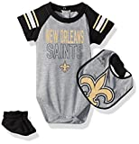 "NFL Infant ""Blitz"" Onesie, Bib and Bootie Set-Heather Grey-18 Months, New Orleans Saints"