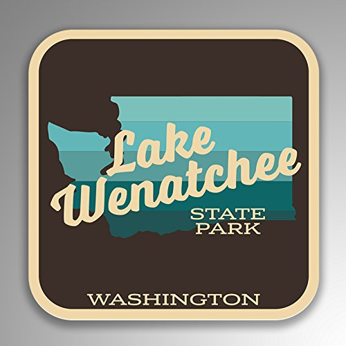 JMM Industries Lake Wenatchee State Park Washington Vinyl Decal Sticker Retro Vintage Look 2-Pack 4-inches by 4-inches Premium Quality UV Protective Laminate SPS166