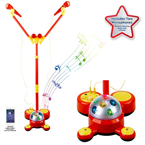 Liberty Imports Deluxe Music Karaoke Machine Kids Sing Along Toy Playset with MP3 Aux - Includes 2 Microphones, Spinning Disco Ball, Flashing Lights, Built-in Dance Songs