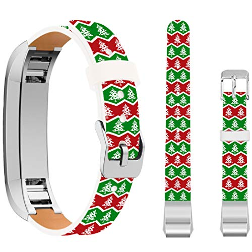 Christmas Tree Band for Fitbit Alta,Ecute Replacement Soft Genuine Leather Strap Bands for Fitbit Alta/Fitbit Alta HR SmartWatch - Green and Red Christmas Tree