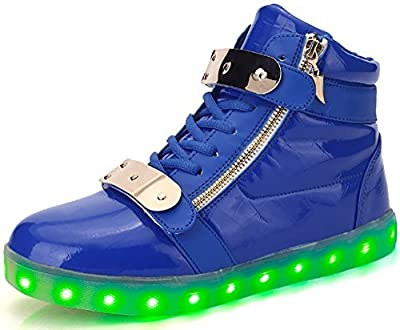 Denater Men Women High Top USB Charging LED Light Shoes Flashing Sneakers
