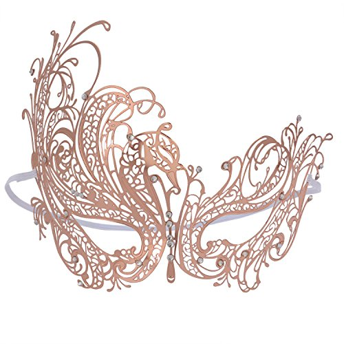 Custom Fit Halloween Masks (Party Mask Phantom Rose Gold Metal Mask for Halloween Ball Prom)