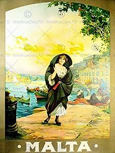 TRAVEL TOURISM ANTIQUE MALTA ISLAND MEDITERRANEAN SEA HARBOUR BOAT AFICHE CARTEL IMPRIMIR POSTER BB9823