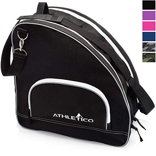 Athletico Ice & Inline Skate Bag - Premium Bag to Carry Ice Skates, Roller Skates, Inline Skates for Both Kids and Adults (Black with White Trim) - Metal Roller Skates