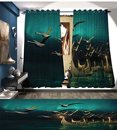 Davishouse Fantasy Window Curtain Fabric Medieval Elf Boats and Magical Birds Swans Flying Mystical Adventure Illustration Drapes For Living Room Teal Gold - Magical Adventure Room