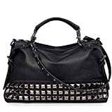 FiveloveTwo Women Middle Size Modern Punk Pu Leather Cross Body Rivet Top-handle Shoulder Bags Hobo Tote Satchel Handbags for Lady Black