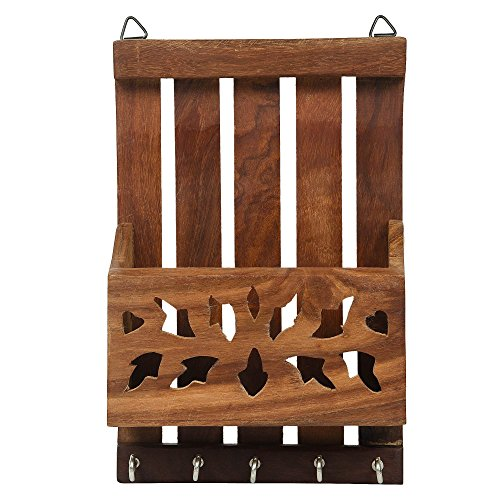 Fine Craft India Wooden Key and Letter Holder Striped Design, Brown Color Key Hangers, Used for Gift to loved ones Height - 8 inch -