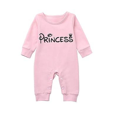 7f8a70a4ffbc8 Webla 1PC Barboteuse de Nouveau Née Bébés Filles Manches Longues Lettres  Princesse Combinaison Vêtements Pyjamas -