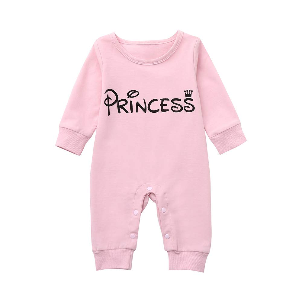Tronet Winter Baby Romper, Infant Girls Boys Keep Warm Letter Princess Romper Jumpsuit Outfits Clothes(Age:0-24 Months) (Pink, 70(Age:0-6 Months))