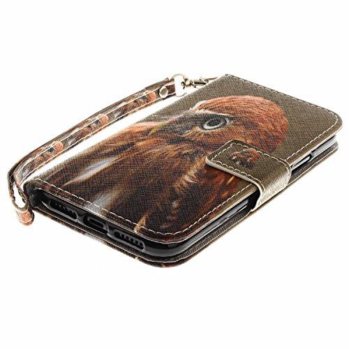 Funda iPhone X,SainCat Funda de cuero sintético tipo billetera con correa de cordón de Suave PU Carcasa Con Tapa y Cartera,Ranuras para Tarjetas y Billetera Funda de Flip Ranuras Tarjeta Slots Función Baby Hawk
