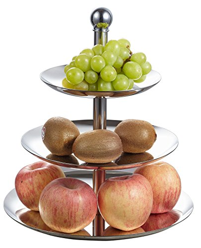 Visol Products 3-Tier Stainless Steel Stand for Serving Candy/Dessert/Cheese/Cupcake/Fruit, Silver