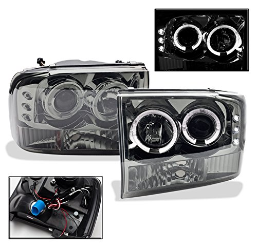 1999-2004 Ford F-250 / F-350 Halo LED Projector Headlights with 6000K HID Conversion Kit - Smoke -