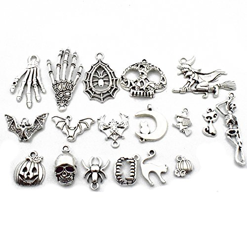 Halloween Charm-100g(about 55-60pcs) Antique Silver Halloween Collection Craft Supplies Charms Pendants for Crafting, Jewelry Findings Making Accessory For DIY Necklace Bracelet (Halloween Collection)