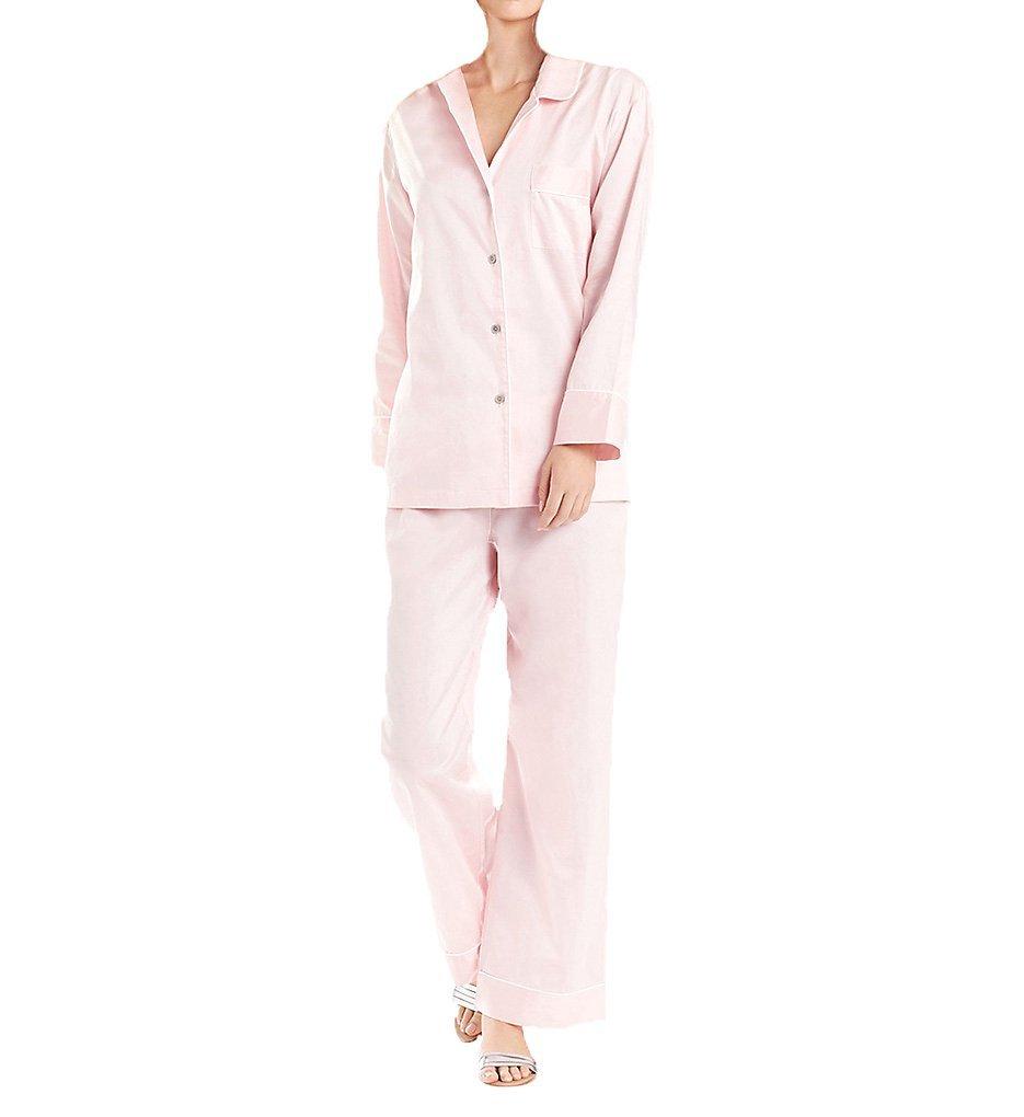 Natori Women's Cotton Sateen Essential Notch Pajama, Blush Pink, Medium