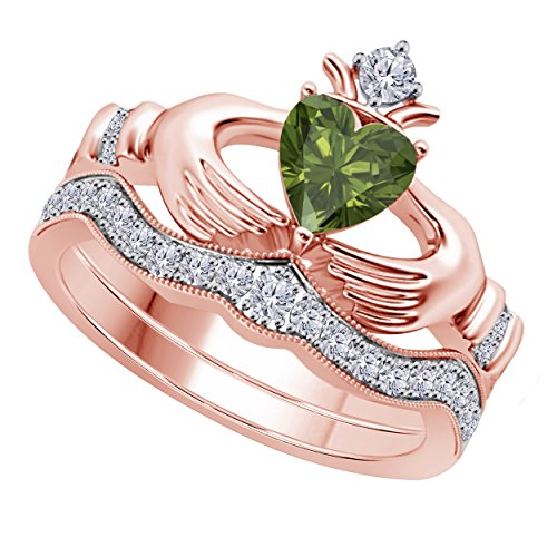 Women's 14k Gold Rhodium Plated Alloy White/Yellow/Rose/Black 1.00CT Heart Cut Created Peridot & Cubic Zirconia Round Wedding Band & Crown Engagement Claddagh Bridal Ring Set - Peridot Created Stainless Steel Ring