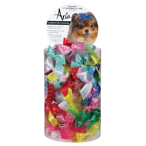 Satin Dog Bows Canister – Dot Ribbon With Tulle, My Pet Supplies