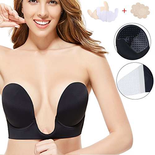 0be3e0c73b304 Gempack Deep U Plunge Invisible Push up Bra Sticky Strapless Backless Bra  for Women Comfortable Reusable Silicone Bra (Black