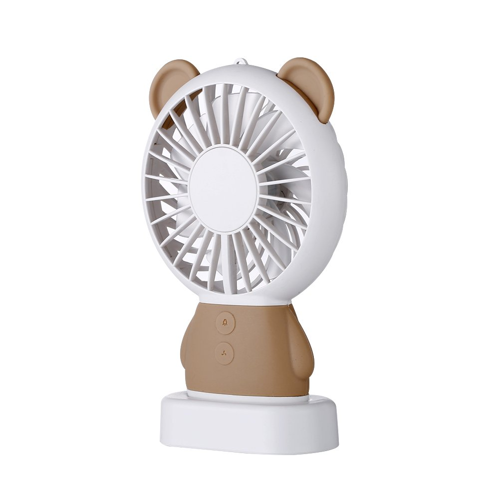 TechCode Handheld Electric Fans, Cute USB Charger Noiseless Fans 2 Speed Adjustable Rechargeable Handhold Portable Personal Fans Creative Cooling Mini Fan with Colorful Led Night Light (Brown) by TechCode (Image #7)