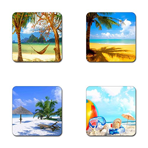 (Summer beach pattern square coaster set - Made of recycled rubber - set of 4)