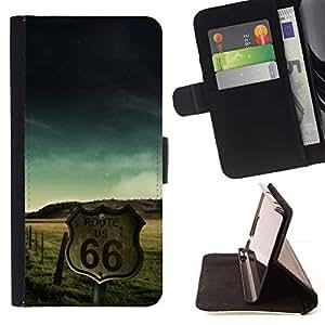 Momo Phone Case / Flip Funda de Cuero Case Cover - Ruta 66 de Estados Unidos EE.UU.;;;;;;;; - Sony Xperia M5