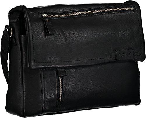 Ochnik Men's Black Genuine Leather Messenger Bag with Magnetic Flap