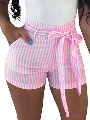 (BEAGIMEG Women's High Waist Stripe Casual Shorts with Pockets Belt Pink)