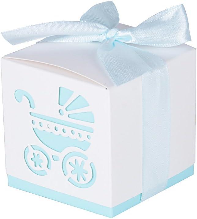 AONER 50Pcs Cajas de Papel de Bombones Regalos Detalles para Invitados de Boda, Fiesta, Comunion o Bautizo, Cumpleaños con Cintas (Cochecito-Azul)