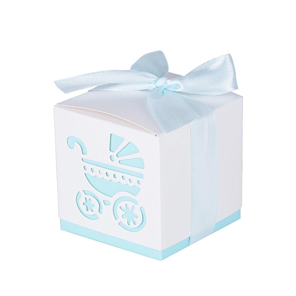 50Pcs Cajas de Bautizo Caramelo Cumpleaños Dulces Bombones Regalos Detalles para Invitados de Boda Fiesta Comunion o Bautizo Cumpleaños con Cintas (Rosa) AONER 10132