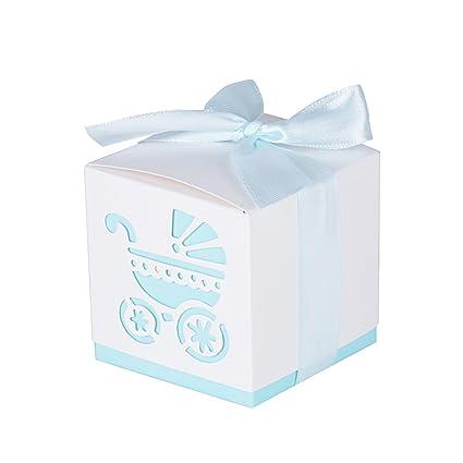 50Pcs Cajas de Papel de Bombones Regalos Detalles para Invitados de Boda, Fiesta, Comunion o Bautizo, Cumpleaños con Cintas (Cochecito-Azul)