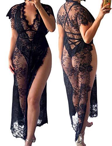 - Vivilover Womens Lace Plus Size Swimsuit Coverup Beach Maxi Long Dress (black)