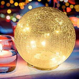 Glass Ball LED Light Christmas Wireless Crackle Glass Light Warm White Night Lamp for Bedroom Living-Room Dresser Nursery Kitchen Garden Restaurant Modern Glass Decoration Glass Craft