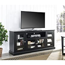 Walker Edison WE Furniture Highboy Style TV Stand, 70-Inch, Black Wood